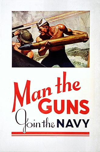 WWII propaganda poster - Man the Guns, Join the Navy