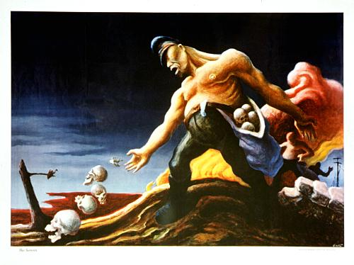 WWII propaganda posters - The Sowers by Thomas Hart Benton, poster exposing fascism