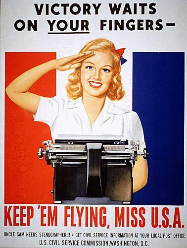 WWII propaganda poster - Victory Waits on Your Fingers - Keep 'Em Flying Miss U.S.A.